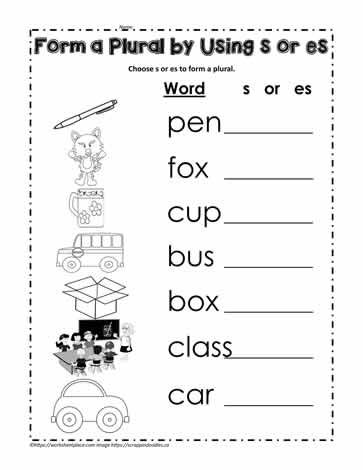 Add S Or Es To Make A Plural Nouns Worksheet Kindergarten Plurals Worksheets Plurals