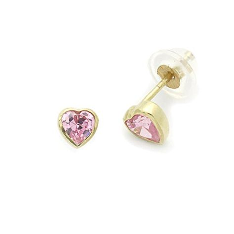 14K Yellow Gold Safetyback Stud Earrings Round Single CZ Accented Heart