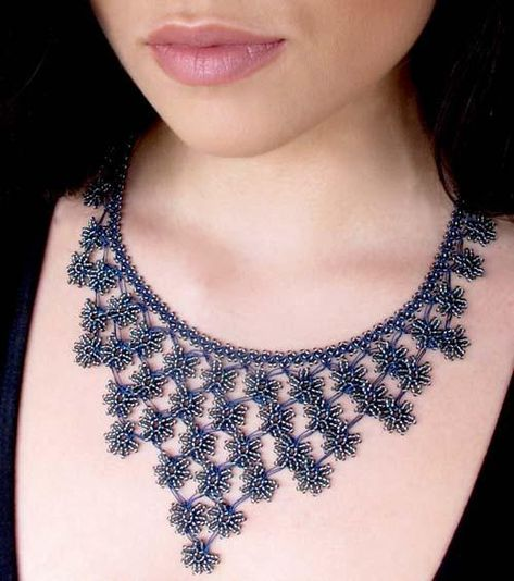 Crochet Necklace Accessories and its usage midnight blue petals cascade crochet necklace - silk and wool crochet - ericsaa