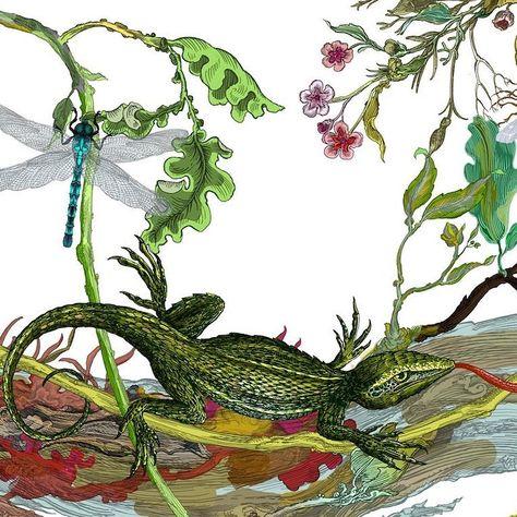 Our Little Reptile #WorldLizardDay.Artwork from our Indie Wood Lizard Cushion.......#cushions #artwork #design #lizards #reptiles #interiors #interiorfurnishings #nature #linen #print #interiordesigners #timorousbeasties