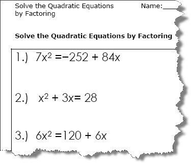 2 Solving Quadratic Equations By Factoring Worksheet Answers