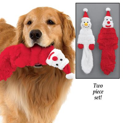 Santa And Snowman Stuffing Free Dog Toy Set Dog Toys Free Dogs