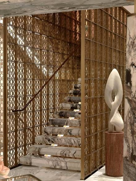 A marble staircase #brass in Bulgari Hotel
