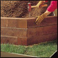 DIY Timber Retaining Wall In The Making. Treated Pine Lengths With A Jarrah  Stain. | DIY Ideas | Pinterest | Retaining Walls, Landscaping And Yards