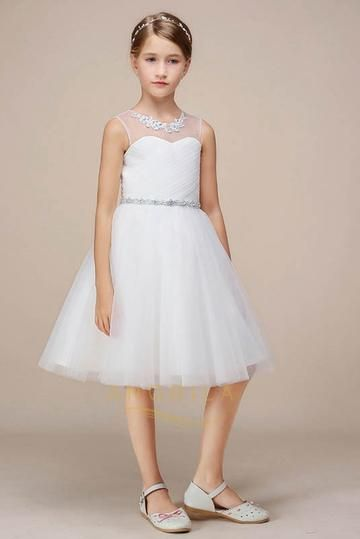 A Line Knee Length Tulle Flower Girl Dresses Vestidos Para Ninas Vestidos De Fiesta Vestidos De Promocion