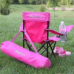 Toddler Personalized Pink Folding Camp Chair Personalised Kids