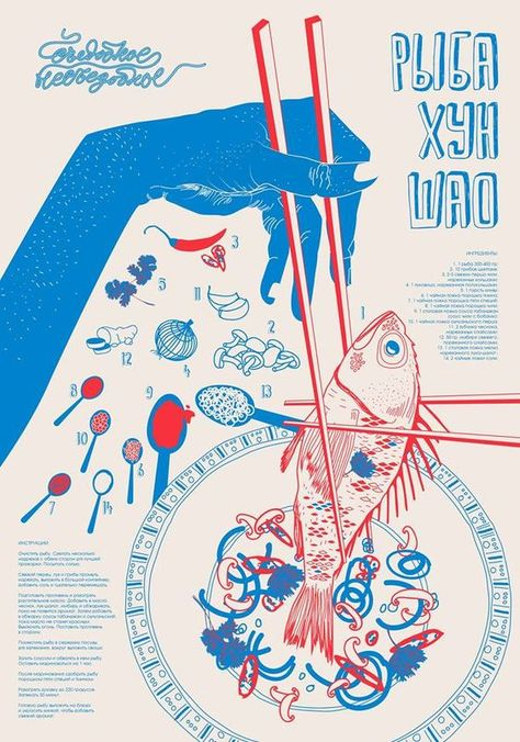 Fish and chopsticks illustration poster on