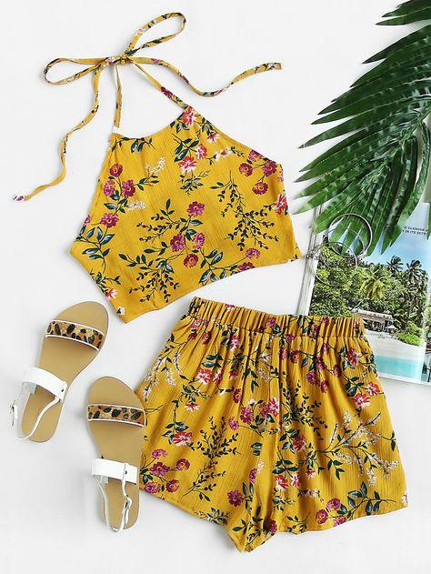 f517e37c3d Floral Print Random Tie Open Back Crop Top With Shorts -SheIn(Sheinside)