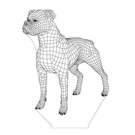 Boxer Dog 3d Illusion Lamp Plan Vector File For Laser And Cnc 3bee Studio 3d Illusions 3d Illusion Lamp Illusions