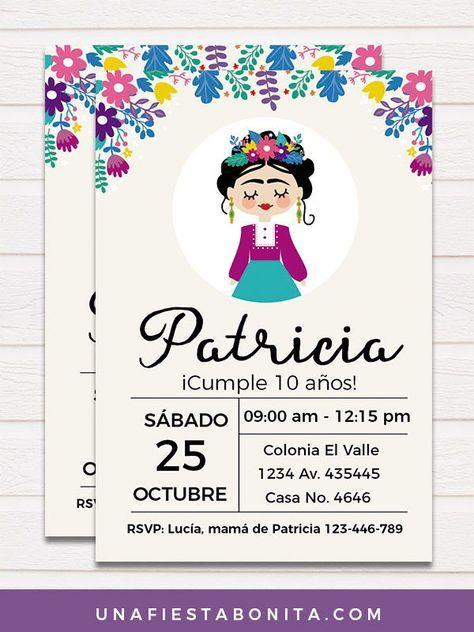 Invitación Frida Kahlo Invitaciones De Fiesta De