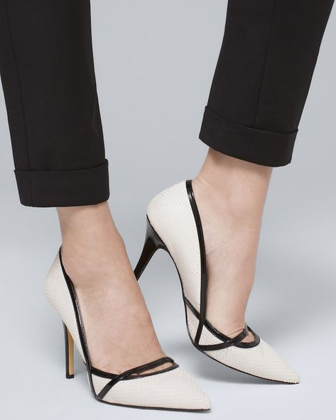 A true tactile experience: these pumps unite matte, snake-scale texture and glossy patent trim. Snake-cut high-heel pumps in white with black Breathable lining; 3 heel Leather and patent upper; High Heel Pumps, Stilettos, Black High Heels, Pumps Heels, Stiletto Heels, Heeled Sandals, Black And White Heels, Work Heels, Nude Heels