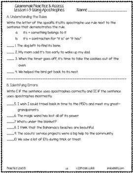 Grammar Worksheets and Tests: 6th Grade NO PREP Printables | kelas 2 ...