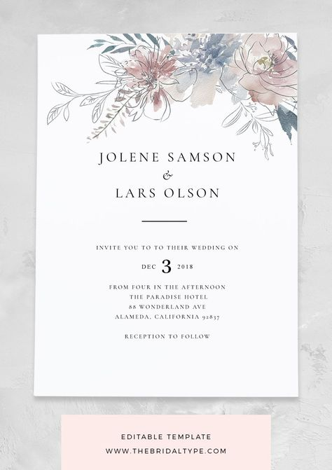 Vintage florals are the centrepiece of this classic invitation. Soft, watercolour hues and just the right typeface. We'll soon have sweet matching elements in our store, making it easy for you to create an invitation suite that's truly your own to match the wedding of your dreams.