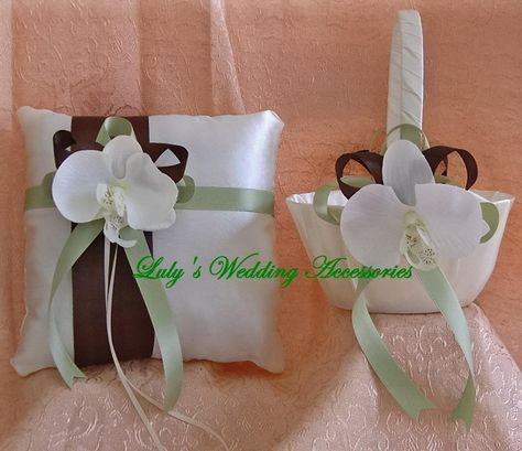 chocolate, crean, and sage weddings   Chocolate Brown, Sage And Ivory Wedding Colors, Flower Girl Basket and ...