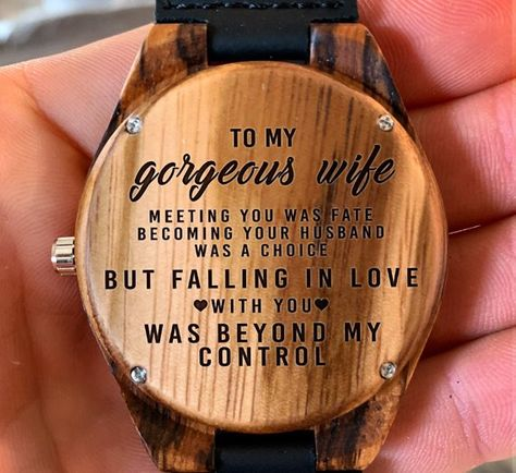 To My Gorgeous Wife - Meeting You Was Fate I Love You Engraved Wooden Watch, Wood Gifts for Wive, An
