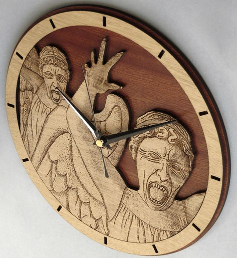 Handmade #WeepingAngels wooden clock - Doctor Who wallclock. Original and unique gift for friends. Worldwide Shipping. Available in:  www.geeksmarvels.etsy.com .  #Interiors #GiftGiving #ticktock #Whovian