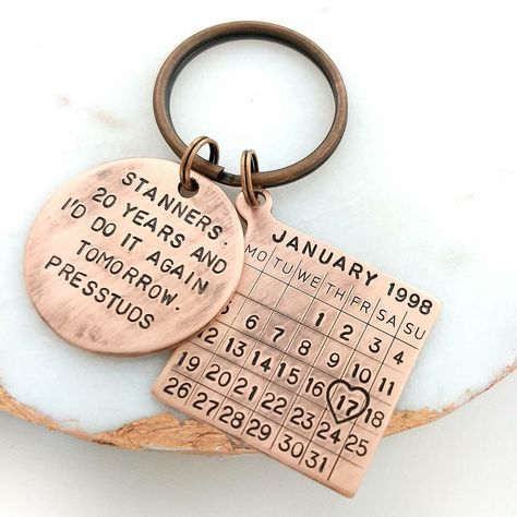 Personalized keychain for copper anniversary. 💞 #anniversarygift #weddinganniversary
