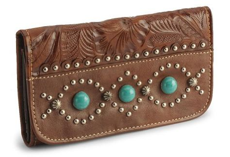 American West Women's Turquoise Stone Leather Wallet - http://handbagscouture.net/brands/american-west/american-west-womens-turquoise-stone-leather-wallet/