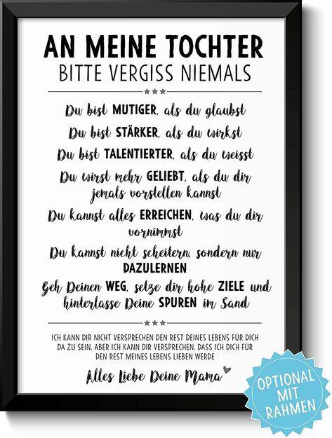 VERGISS NIEMALS Tochter Sohn - Bild mit Sprüchen & Lebensweisheiten Holz-Rahmen optional Geschenkidee Geburtstag Kinder: Amazon.de: Handmade