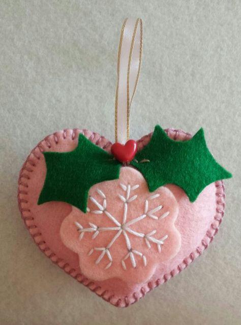 Pink Heart Christmas Decoration... Felt Christmas Decorations...