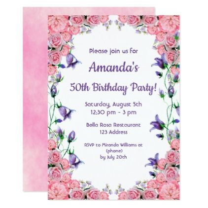 50th Birthday Party Invitation Card Pink Violet Zazzle Com Tea Party Invitations 60th Birthday Party Invitations Pink Invitations