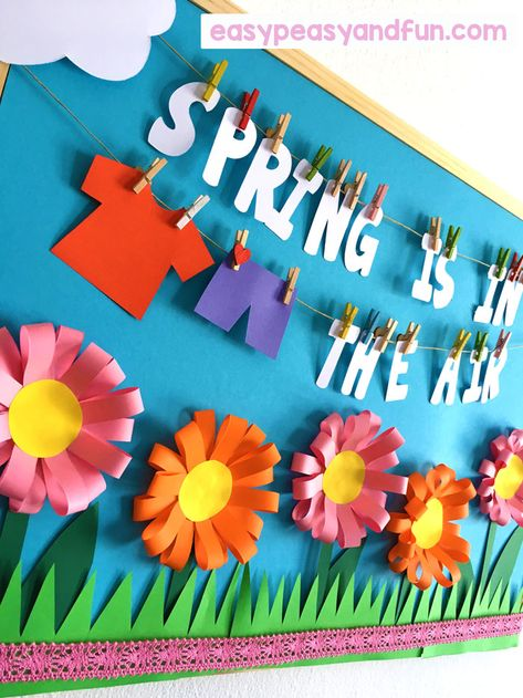 Spring Bulletin Board Ideas for Your Classroom – Easy Peasy and Fun - Spring Crafts For Kids Summer Bulletin Boards, Preschool Bulletin Boards, Classroom Bulletin Boards, Preschool Classroom, In Kindergarten, April Bulletin Board Ideas, Flower Bulletin Boards, Seasonal Bulletin Boards, Butterfly Bulletin Board