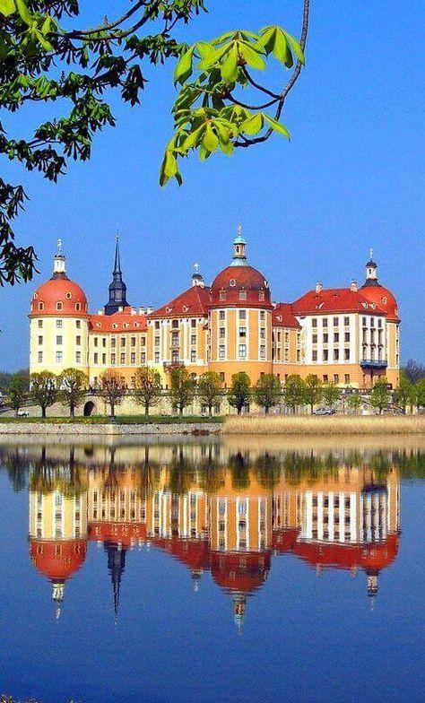 Schloss Moritzburg, Germany: This Baroque palace was built in Moritzburg, northwest of Dresden, Saxony.