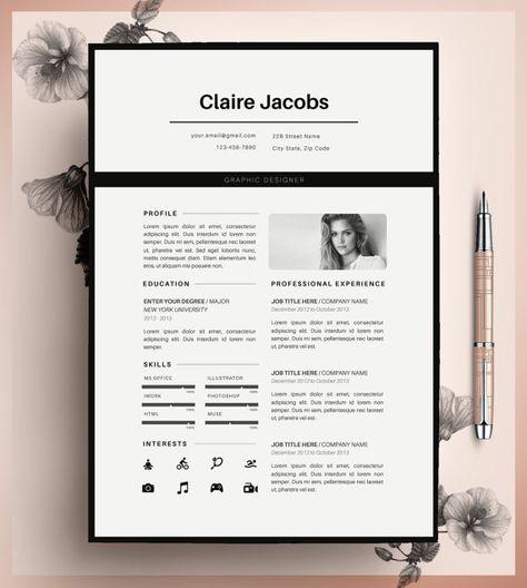 Kreative Lebenslauf Vorlage, CV Vorlage, Instant Download, in MS Word und Seiten + Anschreiben bearbeitbar.