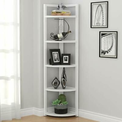 White Wood Metal Corner Etagere 5 Shelf Tier Plant Stand Storage Decor Display Ebay Small Bookshelf Corner Storage Corner Shelves