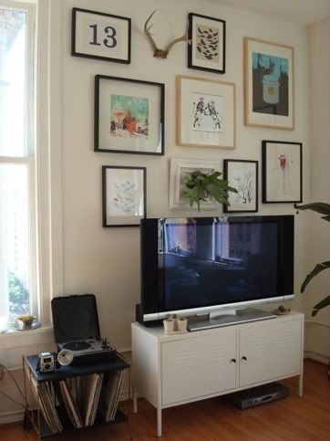 Image result for TV with movie posters behind