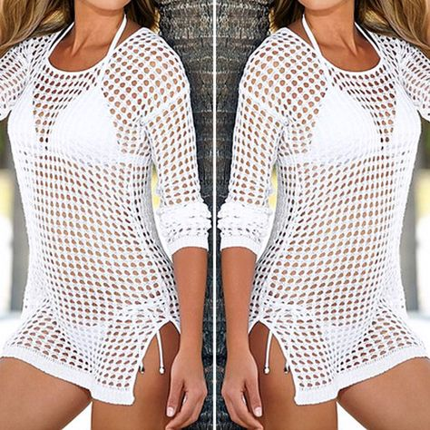 12d5605916 $18.12 - Awesome 2017 Pareo Beach Cover Up Women Sexy Shirt Long Sleeve  Bikini Hollow Cover Up Robe De Plage Beach Cardigan Bathing Suit - Buy it  Now!