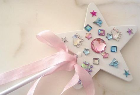 Buy plain white wands, tie on ribbons. Each child decorates their wand with stick on gems