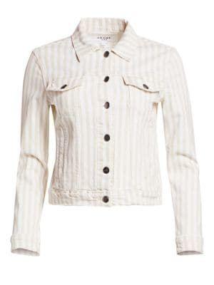 Frame Le Vintage Courtyard Striped Denim Jacket In Multi Modesens Frame Jacket Clothes Fitted Denim Jacket