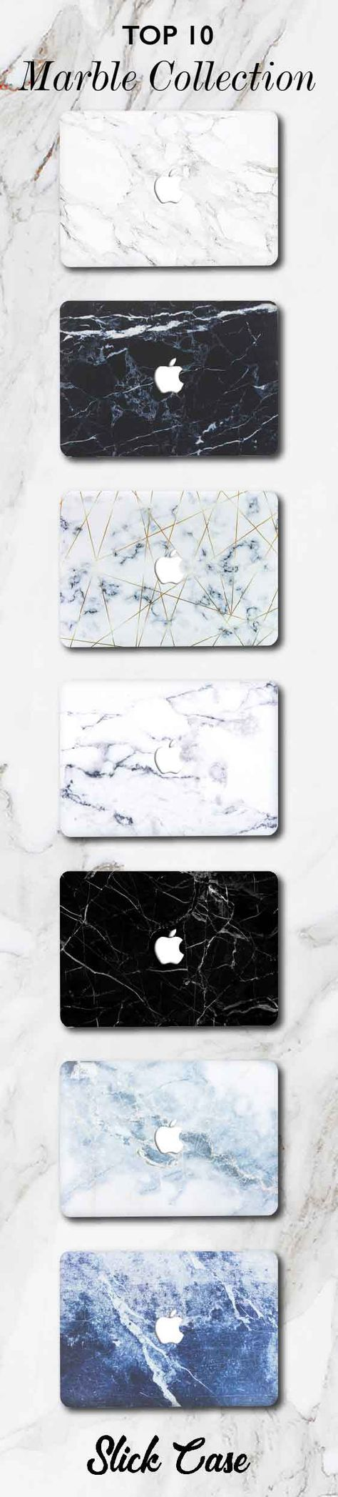 A collection of Marbleous cases designed to adorn and protect Apple MacBook laptops with the look of tinted and monochromatic marble.