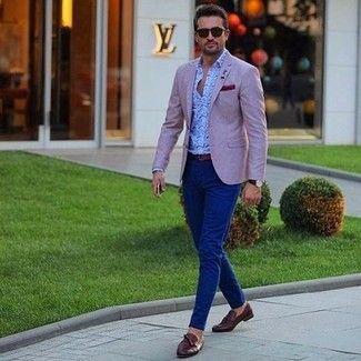 Men S Pink Blazer Light Blue Paisley Long Sleeve Shirt Navy Chinos Dark Brown Leather Tassel Loafers Mens Fashion Blazer Mens Fashion Classy Blazer Outfits Men