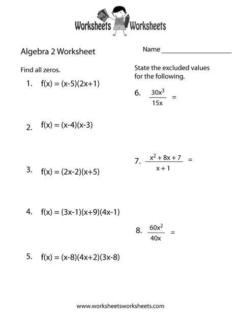Algebra 2 Practice Worksheet Printable Algebra Worksheets, Algebra, Math  Worksheets