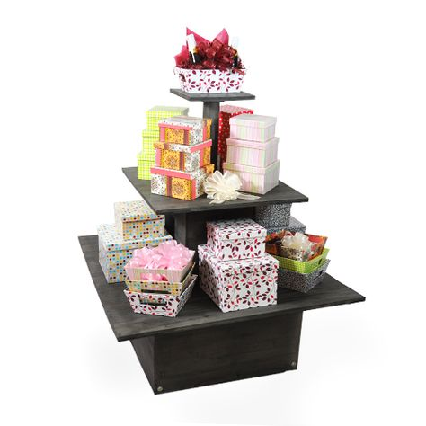 Wooden Square Three Tier Display