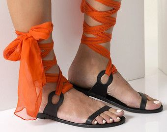 Greek Sandals, Luxurious Sandals with silk scarf laces