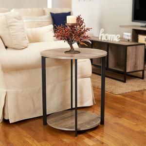 Household Essentials Gray Tone Round Double Tier End Table 8080 1 The Home Depot In 2020 End Tables Modern Accent Tables Modern Side Table