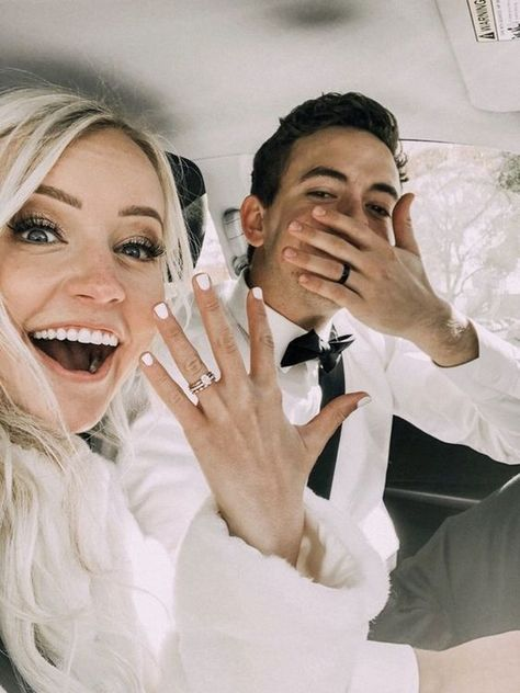 cute bride and groom wedding photo