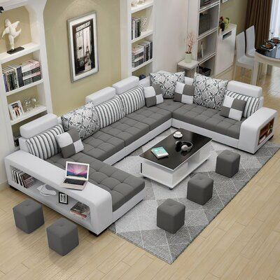 Modern Sectional, Family Room, Sofa Design, Living Room Sets, Light Gray Pillows, Tufted Sectional, Living Room Designs, Sofa Set, Room Design