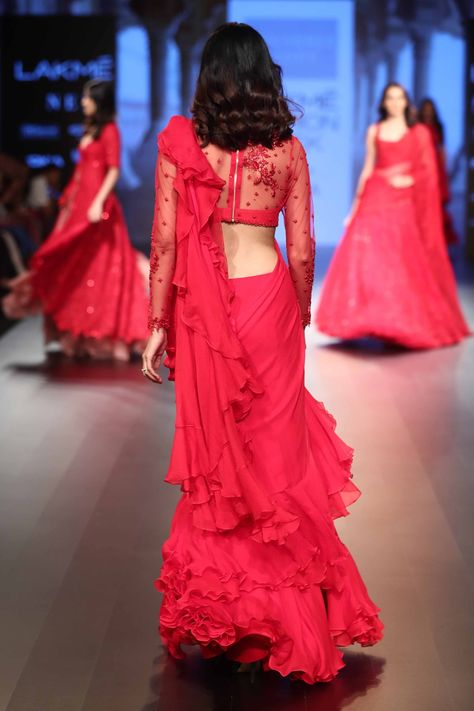 shaliniboutique - ruffle sarees with basic handwork blouse
