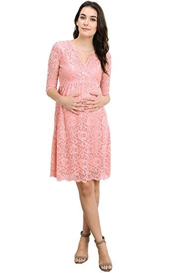 Hello MIZ Womens Maternity Floral Lace Nursing Friendly V Neck Faux Wrap Dress