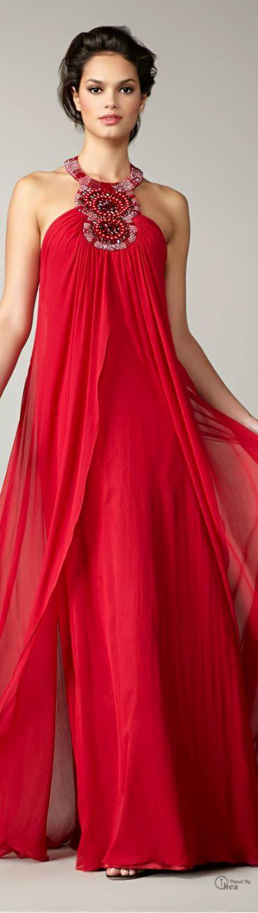 Aidan Mattox ● Red Beaded halter Gown v