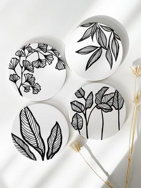 NEW - Botanical Coasters set of 4 Ceramic Nature Plant Coasters, Non slip Absorbent Coasters for Mug