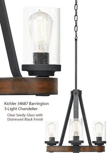Kichler 34687 34751 Barrington 3 Light Chandelier Small Rustic