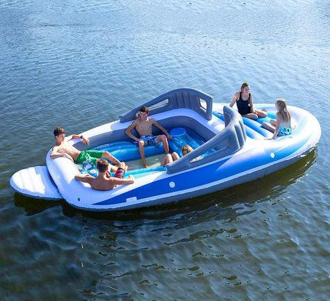 Inflatable Bay Breeze Boat Party Island - If you're looking for something a little different than the typical unicorn pool float, you might want to consider the Inflatable Bay Breeze . Inflatable Floating Island, Lake Floats, Cool Pool Floats, Buy A Boat, Boat Seats, Inflatable Boat, Paris Match, Floating In Water, Floating Cooler