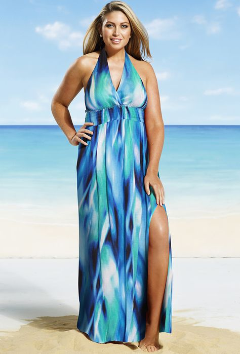 Mediterranean Plus Size Halter Maxi Dress | Beautiful! Saw one ...