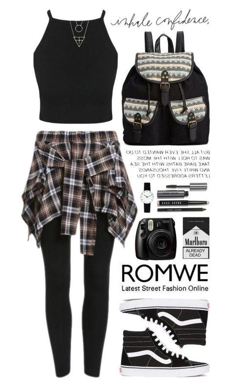 """Romwe 3"" by scarlett-morwenna ❤ liked on Polyvore featuring Vans, Rampage, Bobbi Brown Cosmetics, Rosendahl, modern and vintage #womensfashionvintagemodern"