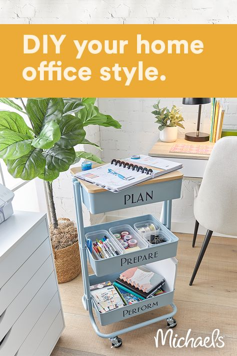 This planner cart is the perfect addition to your home office and the perfect desk for a personal planner. Personalize it with vinyl to make it a design feature in your room.